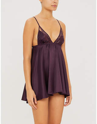 Coco de Mer Amalie V-neck silk-satin and lace slip