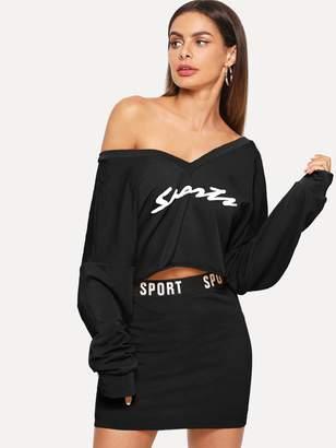 Shein Letter Print V Neck Top & Skinny Skirt Set