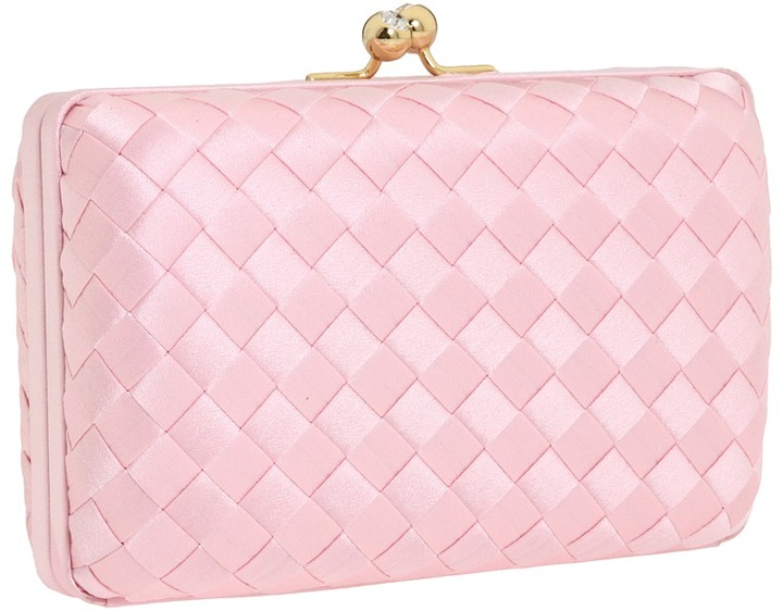 Franchi Joan Woven Silk Box Clutch (Pale Pink) - Bags and Luggage