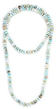 Nest Women's Mother-Of-Pearl, Larimar & 22K Goldplated Long Strand Necklace