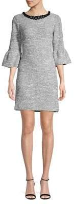 Karl Lagerfeld Paris Chain Necklace Bell Sleeve Knit Dress