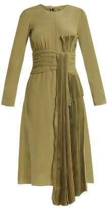 Rochas Pleated Drape Silk Crepe De Chine Dress - Womens - Green