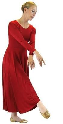Danzcue Womens Praise Loose Fit Full Length Long Sleeve Dance Dress