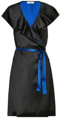 Diane von Furstenberg Ruffled Two-Tone Satin Wrap Dress
