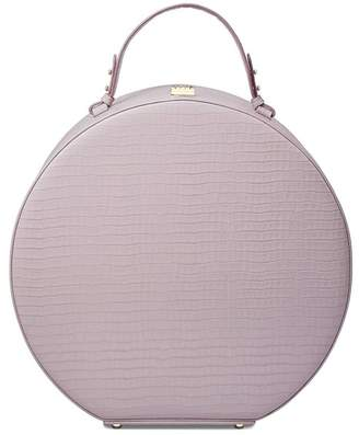 Aspinal of London Large Hat Box In Deep Shine Lilac Small Croc