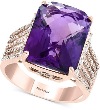 Effy Amethyst (10-7/8 ct. t.w.) & Diamond (1/3 ct. t.w.) Statement Ring in 14k Rose Gold