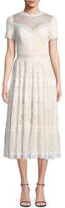 Tadashi Shoji Lace High-Neck Pleated A-Line Cocktail Dress