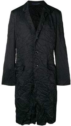 Yohji Yamamoto wrinkled single-breasted coat