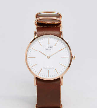 Reclaimed Vintage Inspired Leather Watch In Brown 36mm Exclusive to ASOS