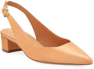 Mansur Gavriel Low-Heel Napa Leather Slingback Pumps
