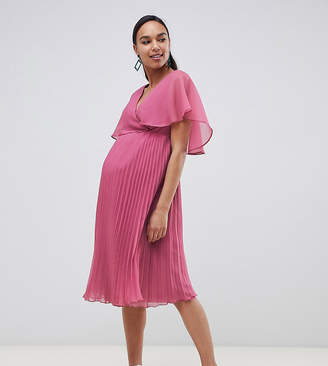 Asos DESIGN Maternity flutter sleeve midi dress with pleat skirt