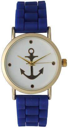 Olivia Pratt Womens Gold Anchor Emblem Dial Royal Silicone Watch