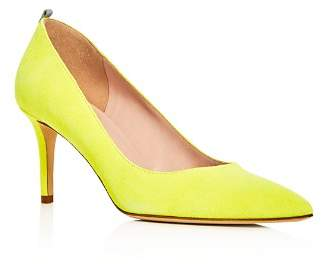 Sarah Jessica Parker Women's Fawn Suede Mid Heel Pointed Toe Pumps