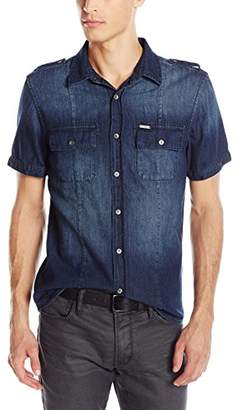 GUESS Men's Denim Military Button Down Shirt