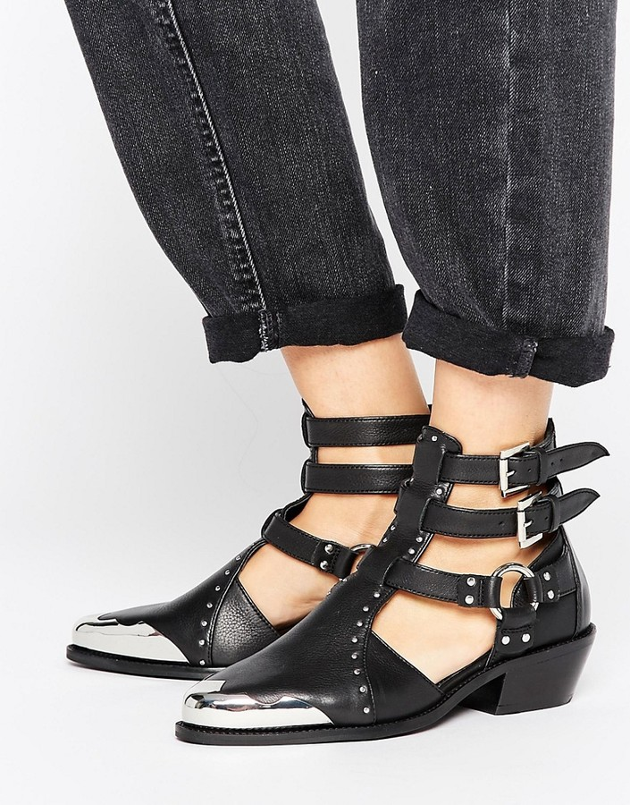 AsosASOS ARCTIC Leather Western Cut Out Boots