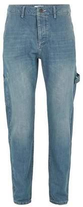 Topman Mens Blue Vintage Wash Carpenter Straight Leg Jeans