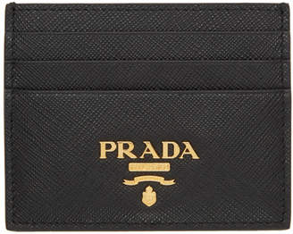 Prada Black Saffiano Logo Card Holder