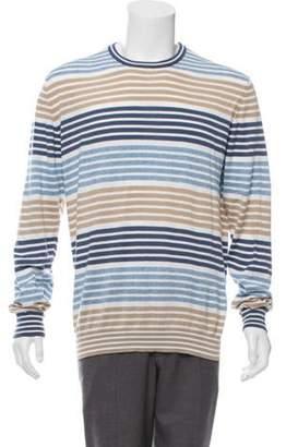 Etro Striped Crew Neck Sweater blue Striped Crew Neck Sweater