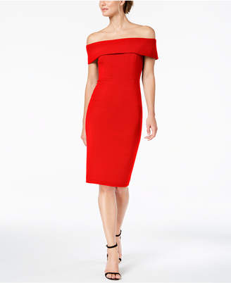 Calvin Klein Off-The-Shoulder Scuba Crepe Dress
