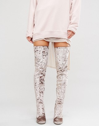 ASOS KATCH UP Velvet Stretch Over The Knee Heeled Boots $89 thestylecure.com