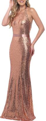 Yilis Sequin Beaded Evening Gown Prom Dress Halter Mermaid Bridesmaid Dress