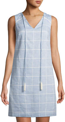 Julia Jordan V-Neck Windowpane Shift Dress