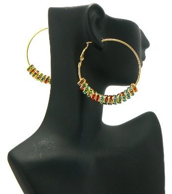 Gold with Multiple Colors Iced Out Poparazzi Loops 2 Inch Hoop Earrings Lady Gaga Basketball Wives