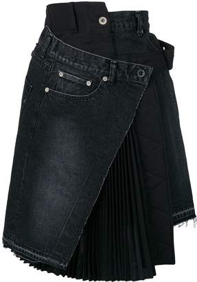 Sacai deconstructed denim skirt