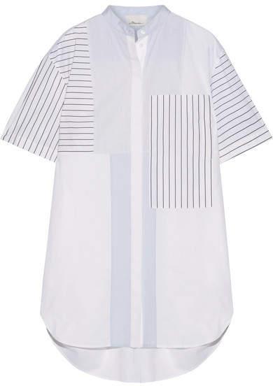 3.1 Phillip Lim3.1 Phillip Lim - Patchwork Striped Cotton-poplin Mini Shirt Dress - White