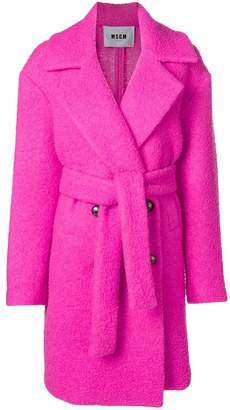 MSGM belted teddy coat