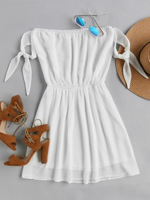 Shein Off Shoulder Self Tie Sleeve Elastic Waist Dress