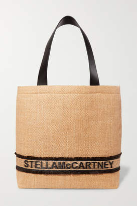 Stella McCartney Small Faux Leather-trimmed Raffia Tote - Neutral