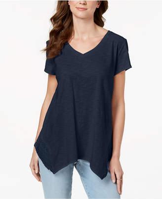 Style&Co. Style & Co Crochet Handkerchief-Hem T-Shirt, Created for Macy's