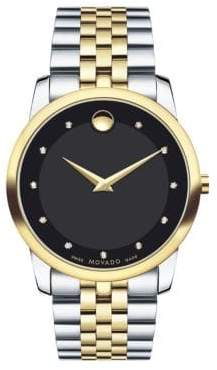 Movado Museum Classic Two-Tone Stainless Steel Diamond Bracelet Watch