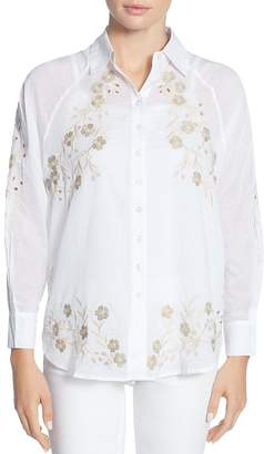 Catherine Malandrino Renzo Embroidered Button-Down Blouse
