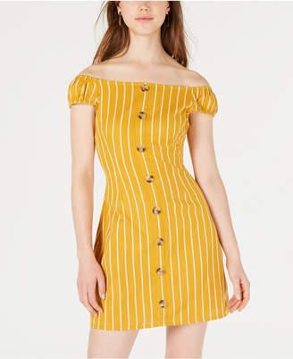 Planet Gold Juniors' Cotton Striped Off-The-Shoulder Dress