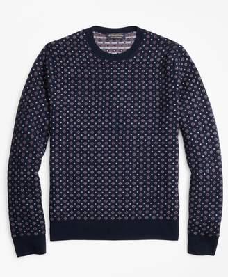 Brooks Brothers Merino Wool Foulard Jacquard Crewneck Sweater