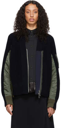 Sacai Navy and Green Bomber Cardigan