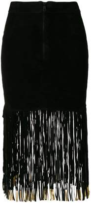 Giorgio Brato fitted skirt with long fringe