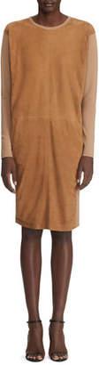 Ralph Lauren Long-Sleeve Suede Front Dress
