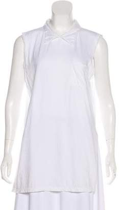 Hache Pointed Collar Sleeveless Top