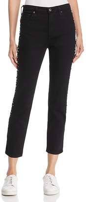 AG Jeans Isabelle Studded Straight-Leg Jeans in Super Black Meteor Shower