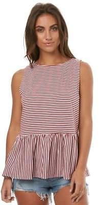 Swell New Women's Lines Peplum Tank Cotton Polyester Rougewht Stripe