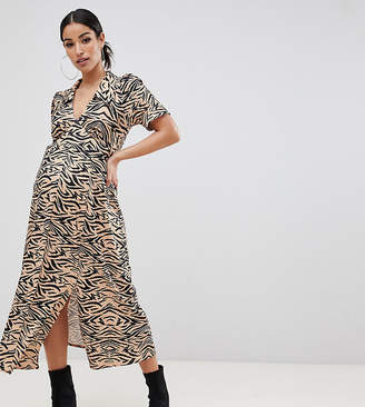 Asos DESIGN Maternity animal print midi tea dress in rib