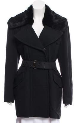 Barbara Bui Fur-Trimmed Short Coat