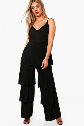 fb5387a69b43 boohoo Plus Slinky Frill Layered Jumpsuit