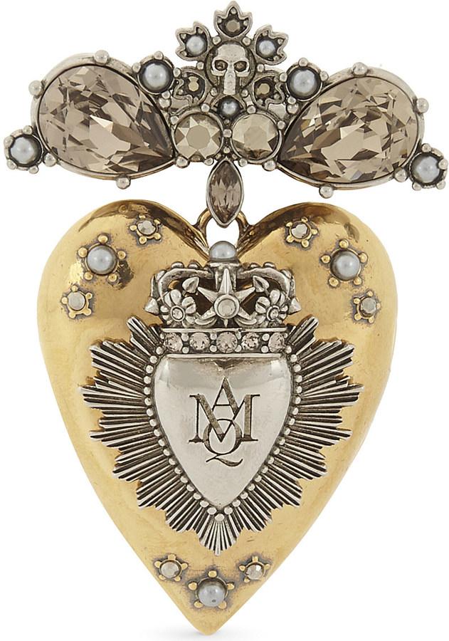 Alexander McQueenAlexander Mcqueen Crystal heart brooch