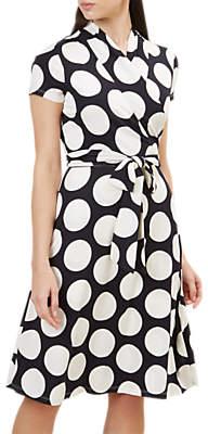 Hobbs April Spot Print Dress, Navy/Ivory