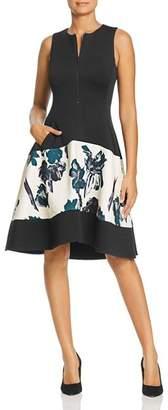 Donna Karan Floral Paneled Scuba Dress