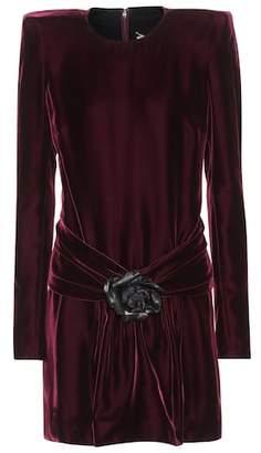 Saint Laurent Embellished velvet dress